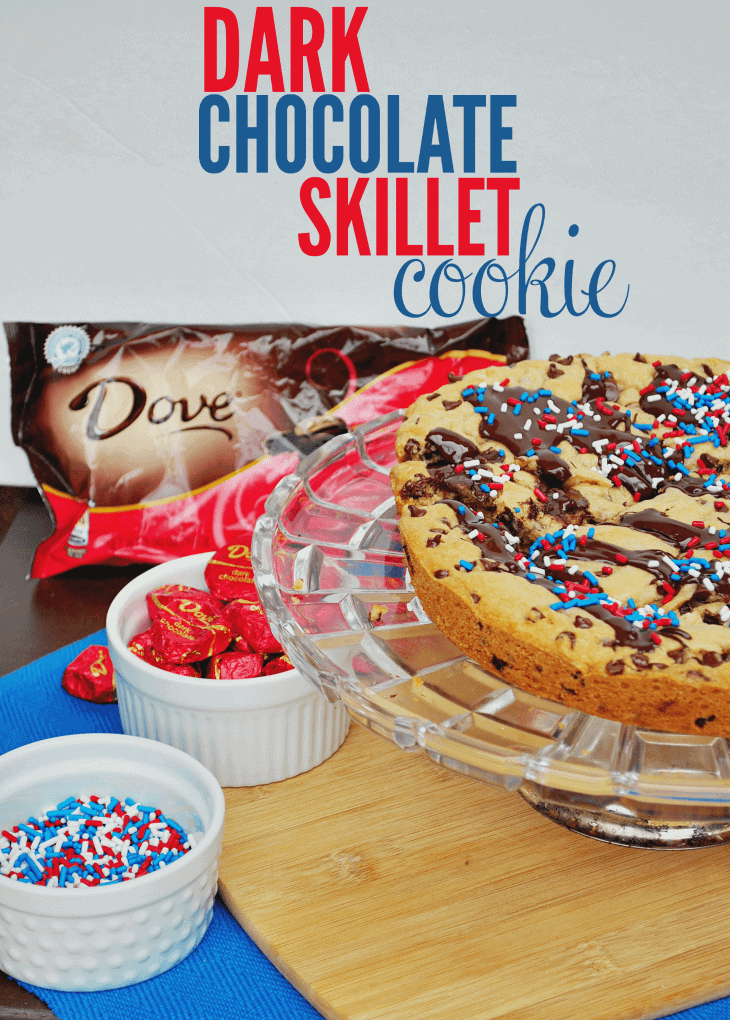 This dark chocolate chip skillet cookie is easy to make and tastes delicious! Add melted chocolate on top and sprinkles and enjoy!