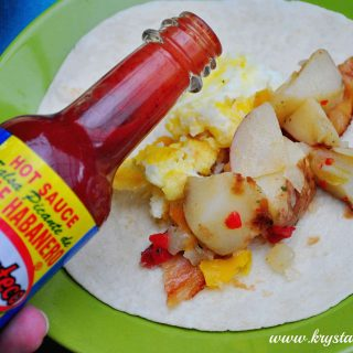 El Yucateco Hot Sauce Breakfast Burrito