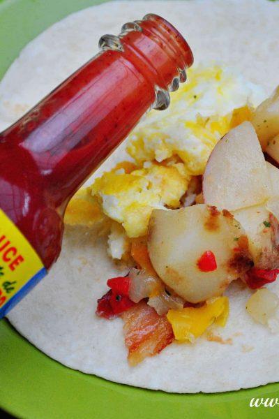 Breakfast Burrito Bar With El Yucateco Hot Sauce #SauceOn #shop