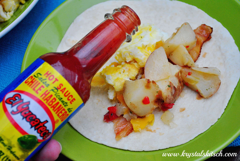 El Yucateco Hot Sauce Breakfast Burrito