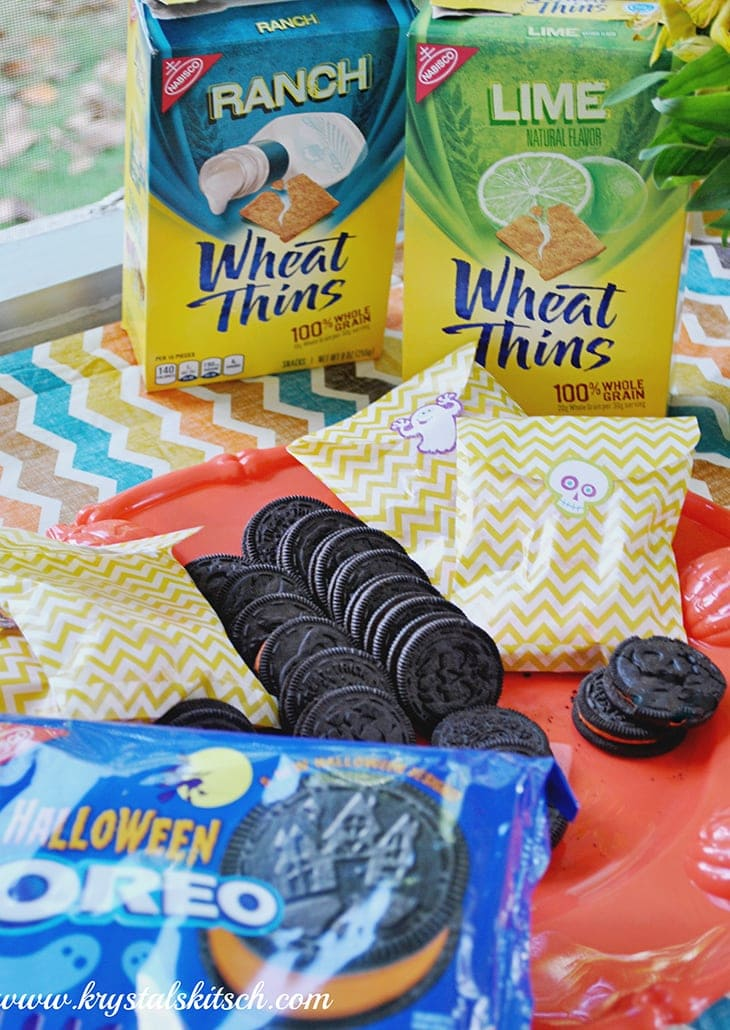 Halloween Oreos and Wheat Thins