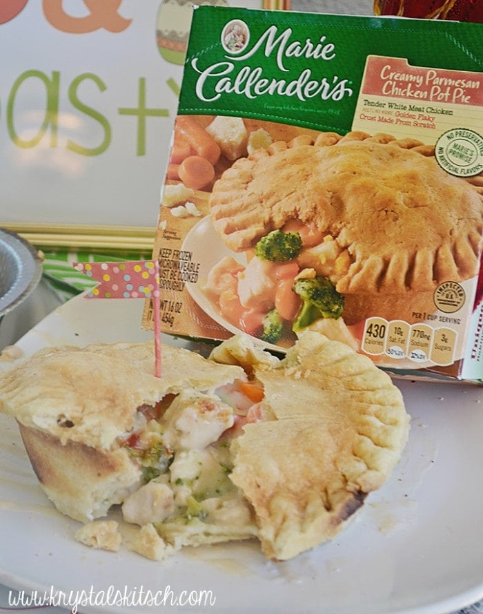 Pair Marie Callender's pot pies with crusty bread for a bruschetta bar and DIY olive oil dip. These recipes pair perfectly with the warm pot pies! Host a warm and toasty party this winter!