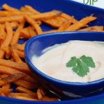 Cilantro Sriracha Dip With Sweet Potato Fries