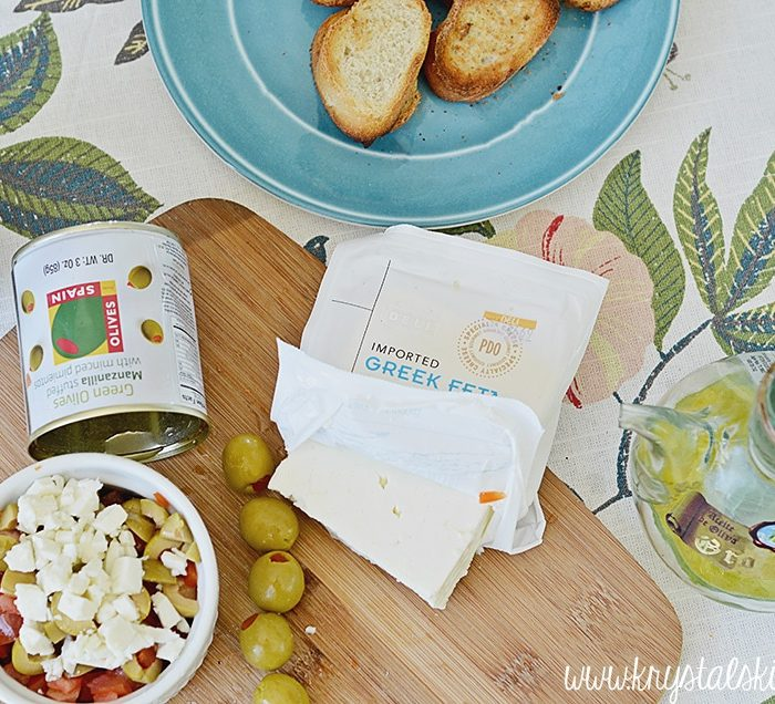 Easy Olive Appetizers: Feta Bruschetta + Side Salads