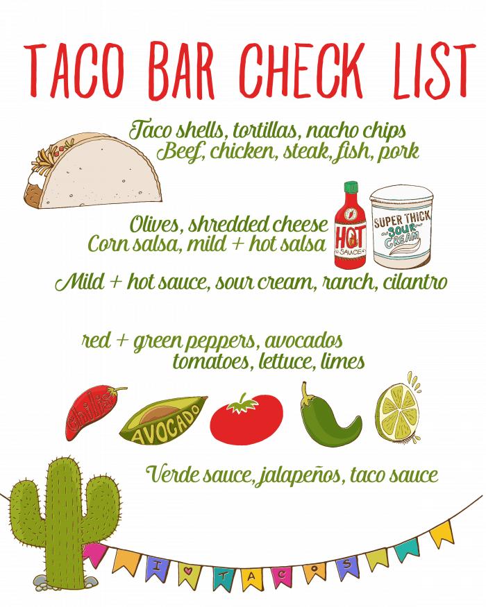 Taco Bar Check List