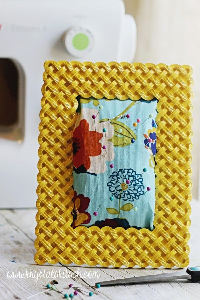 Bright patterns, bold colors, cute prints...don't you love spring time? It's like a breath of fresh air! This DIY Picture Frame Cushion is a colorful patterned craft that you are going to love making.