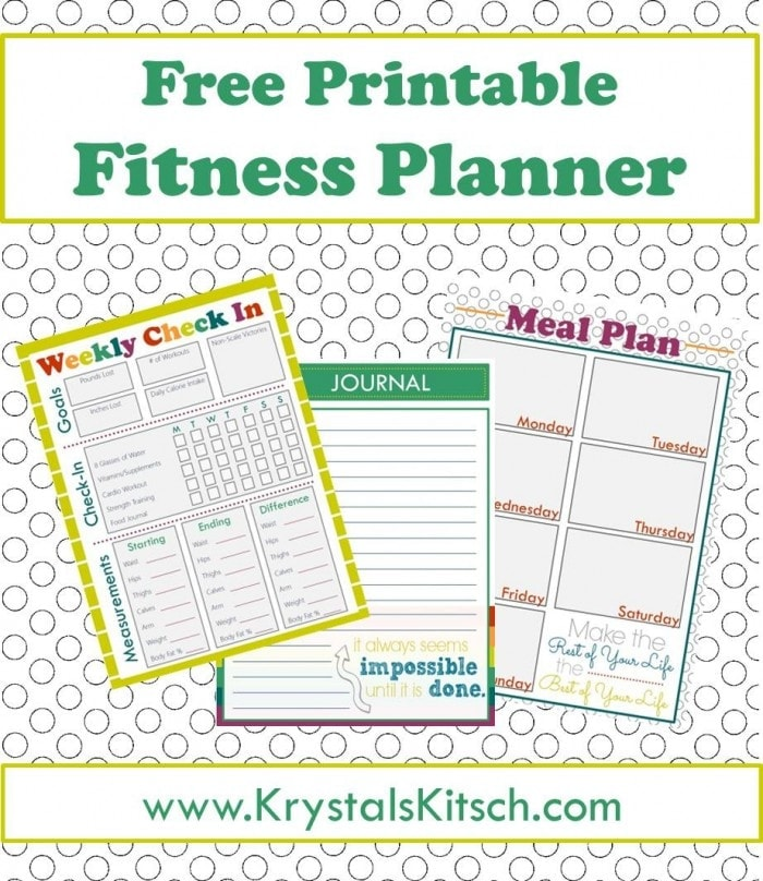 Free fitness journal meal planning printables for Fitness journal template printable