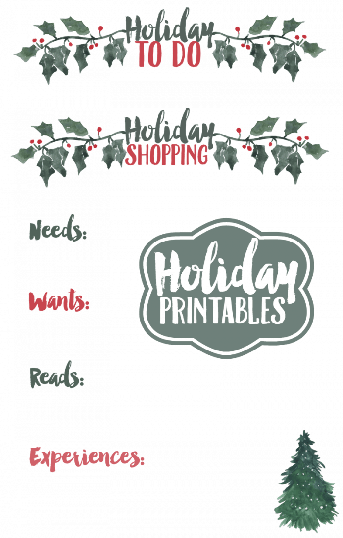 Holiday Shopping Printables by Krystals Kitsch