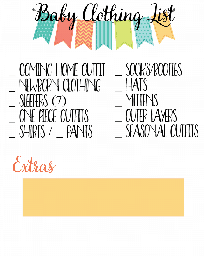 Baby Clothing List