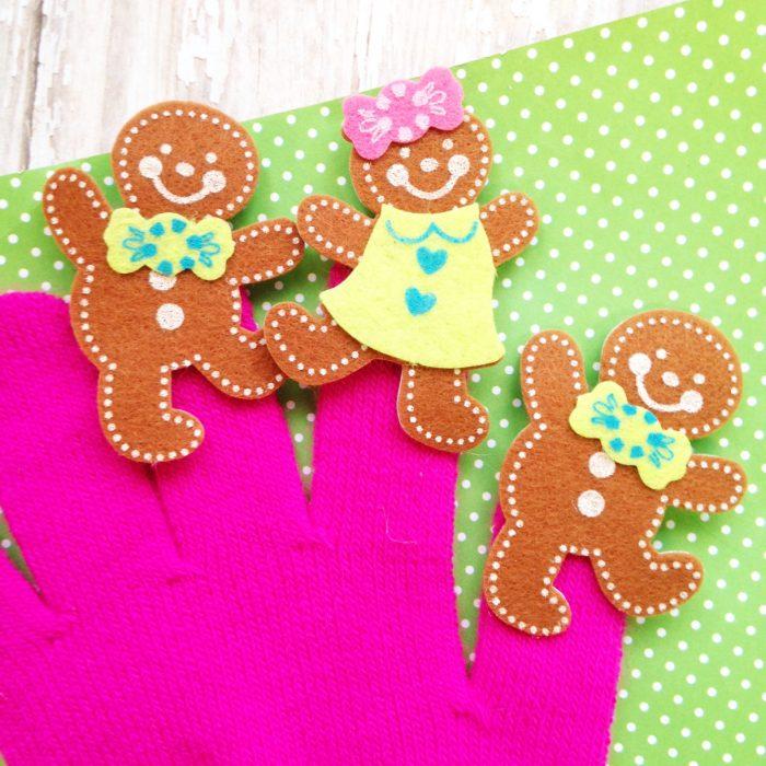 5 Little Gingerbread Finger Puppet Play Gloves