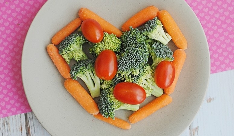 Valentine's Day Vegetable Snack Plate