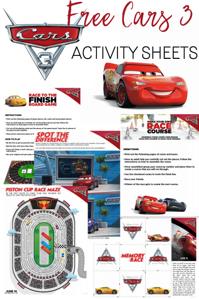 Free Cars 3 Activity Sheets