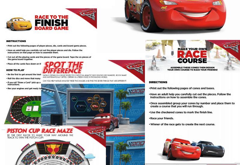 Free Cars 3 Activity Sheets
