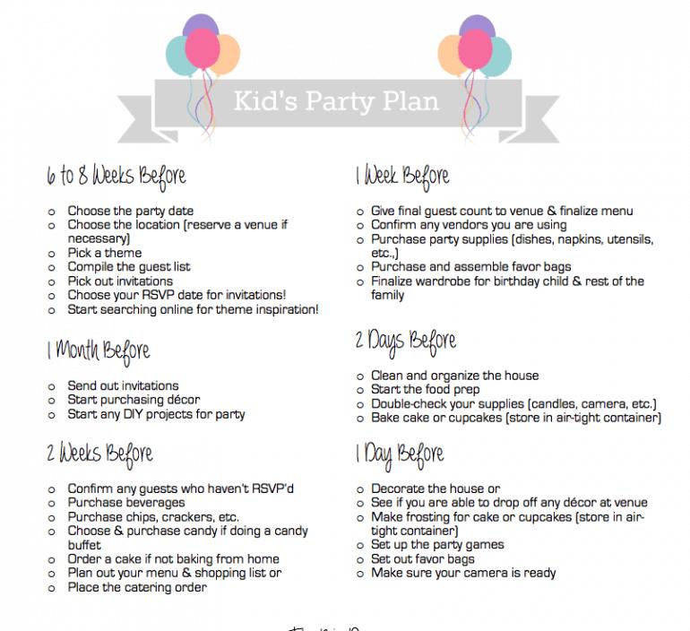 Birthday Party Plan