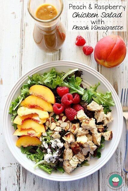 Peach & Raspberry Chicken Salad with Peach Vinaigrette