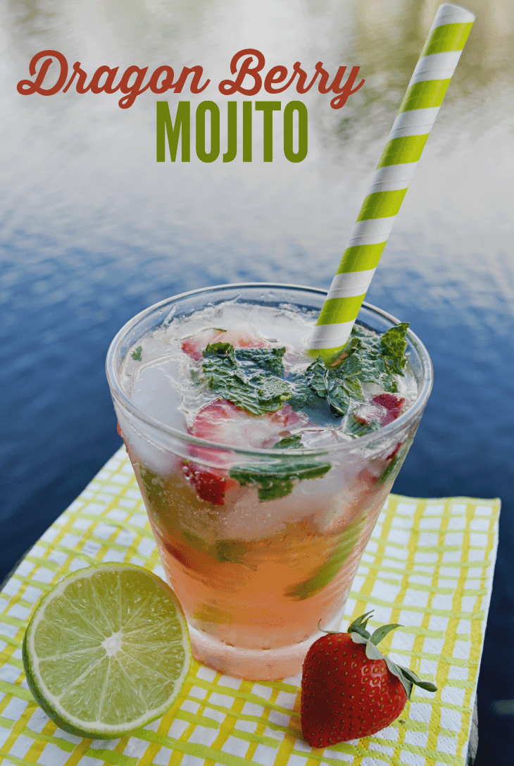 This sweet dragon berry mojito has just the right combination of strawberry, lime, and rum!