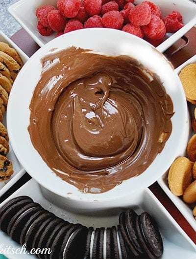 """Host a chocolate chip cookie party for the holidays with this easy chocolate fondue! It's """"fun""""due!"""