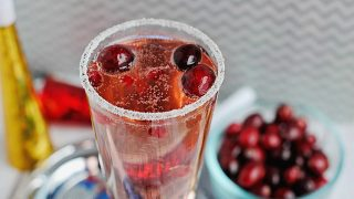 Cranberry Pomegranate Champagne Spritzer