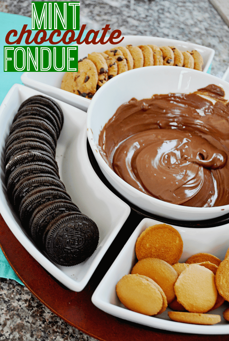 "Host a chocolate chip cookie party for the holidays with this easy chocolate fondue! It's ""fun""due!"