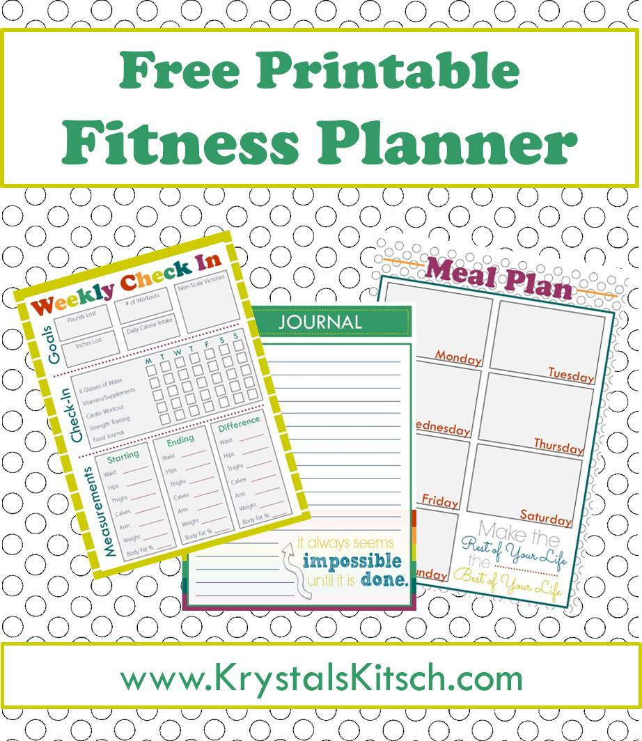graphic about Free Printable Fitness Planner named Cost-free Health and fitness Magazine + Dinner Coming up with Printables