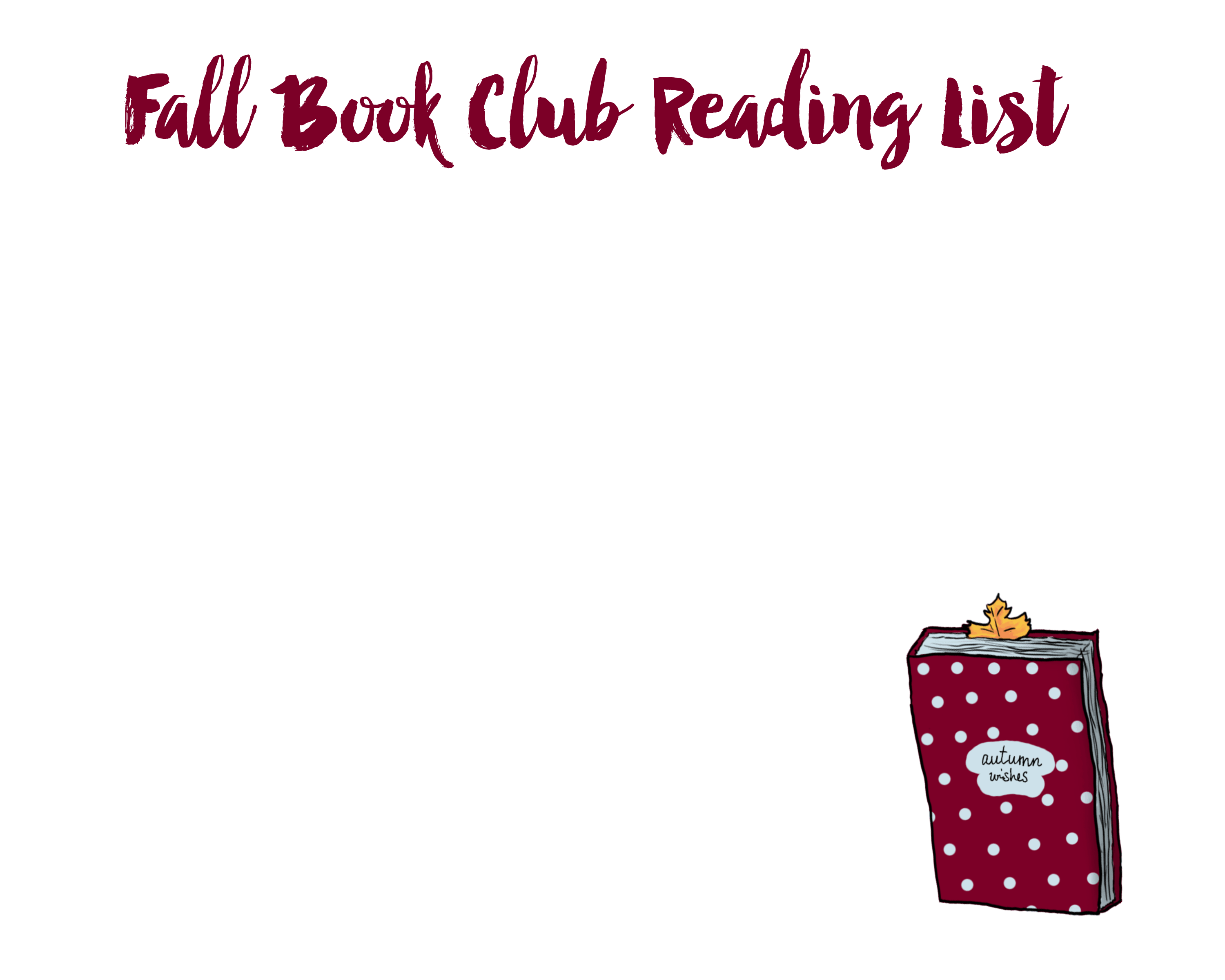 Fall Book Club Reading List