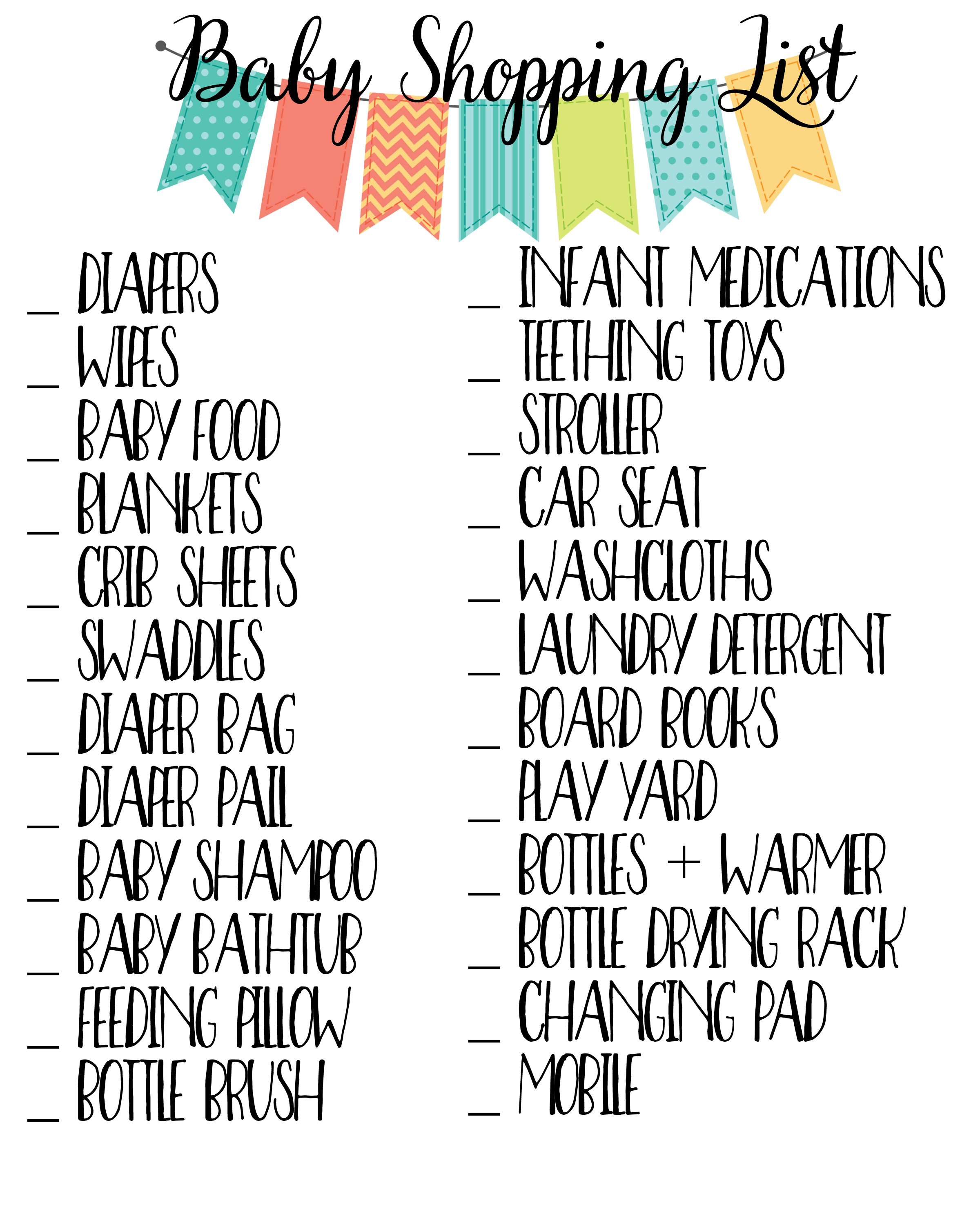 Baby Essentials Checklist 187 Sunny Sweet Days