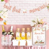 Mimosa Bar Sign But First Mimosas Banner Boho Floral Bridal Shower Decorations Rose Gold Baby Shower Graduation Decor Brunch Bubbly Bar Themed Wedding Engagement Birthday Party Mimosa Bar Kit