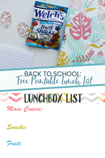 Back to School Printable Lunchbox List