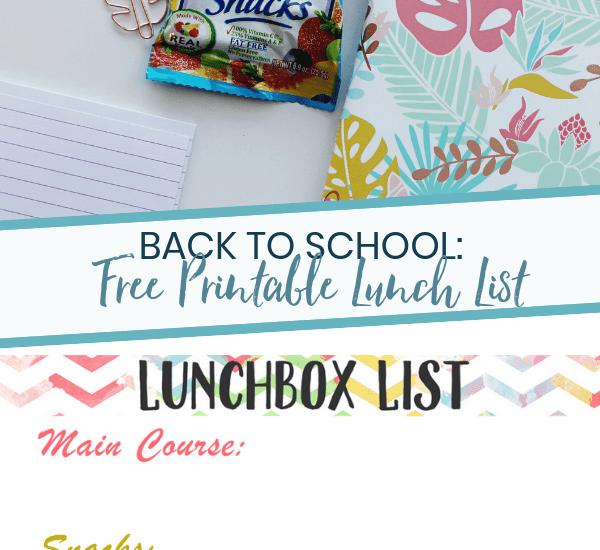 Back to School Printable Lunchbox List