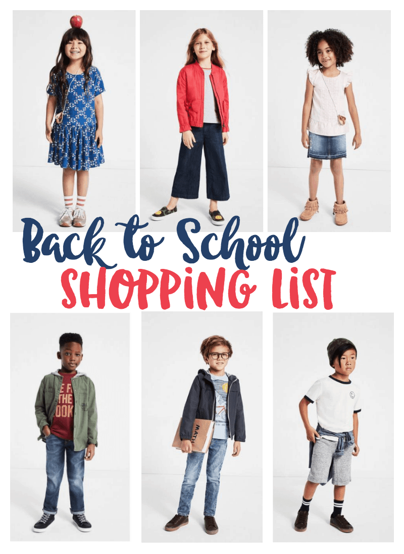 Back to School Clothing Shopping List