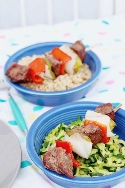 Beef Kabobs and Brown Rice Bowls