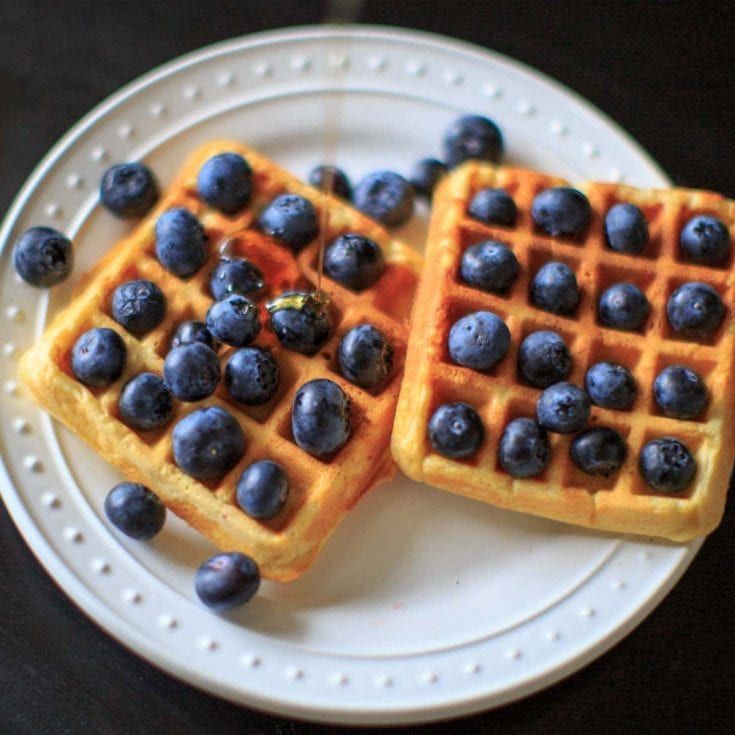 Blueberry and Blood Orange Belgian Waffles with Red Lentils