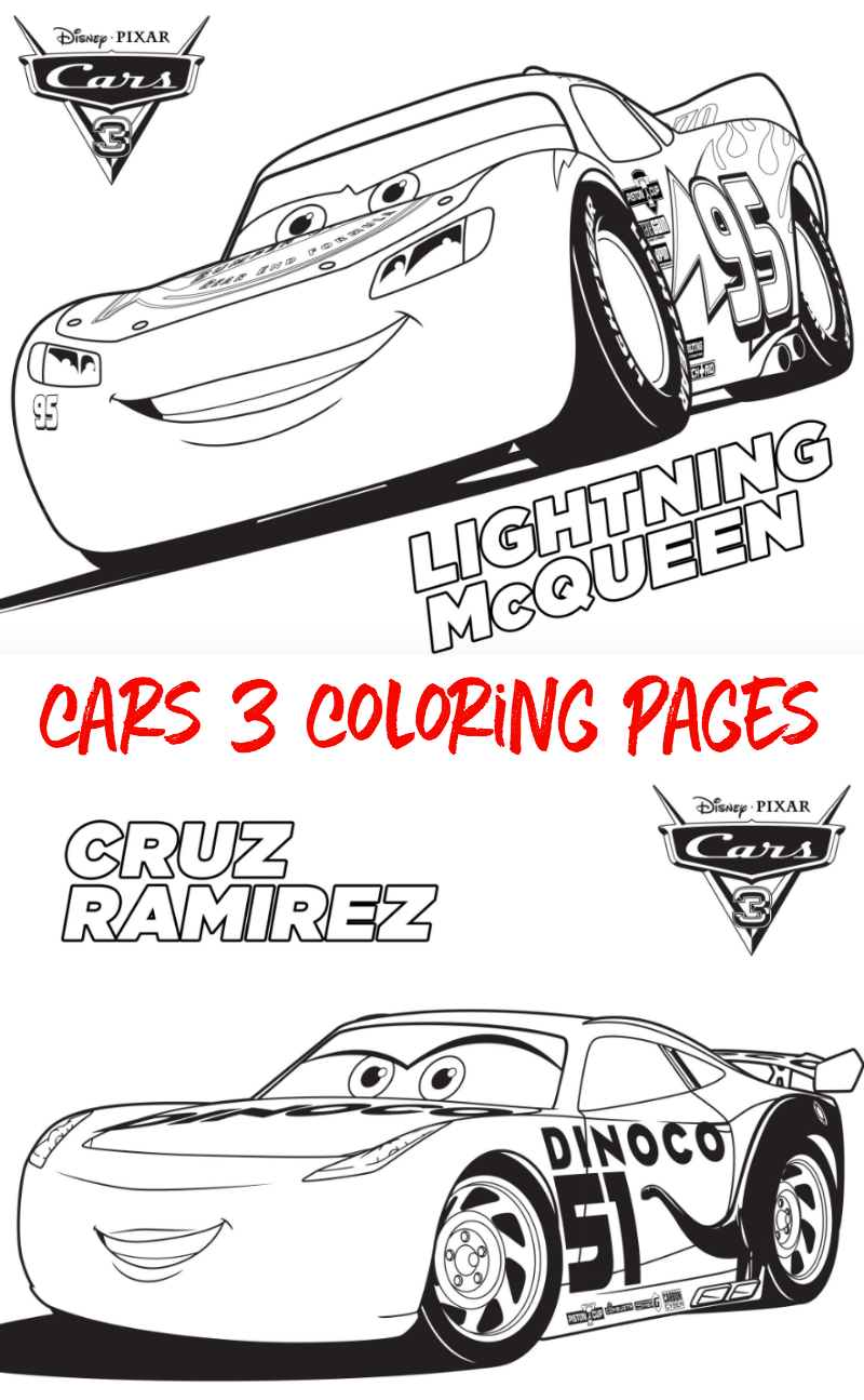 Free CARS 3 Coloring Sheets #Cars3