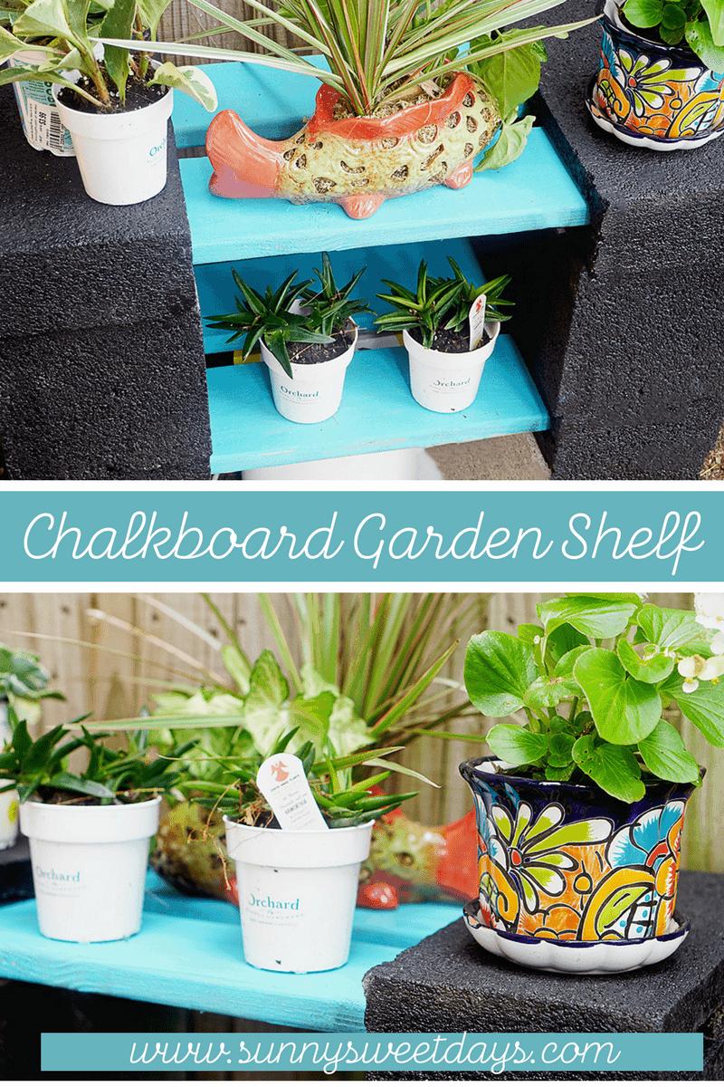 DIY Chalkboard Garden Shelf