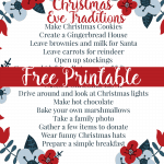 Christmas Eve Traditions Printable
