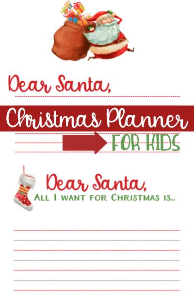 Santa Letter Printables | Christmas Planner For Kids