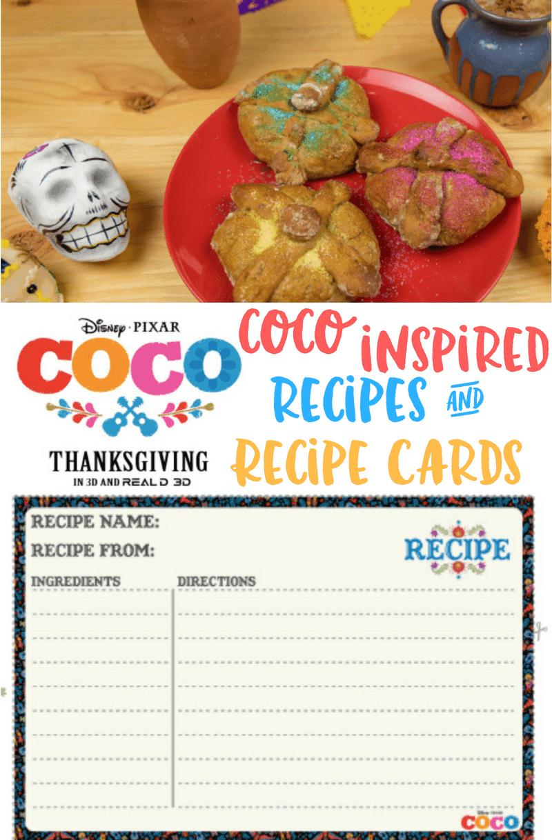 Disney Pixar Coco Inspired Recipes and Printable Recipe Cards