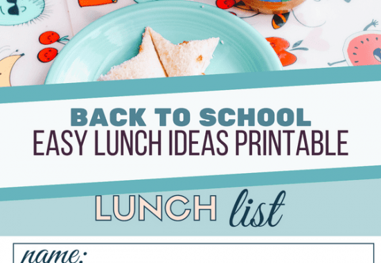 Back to School Lunch Ideas Printable