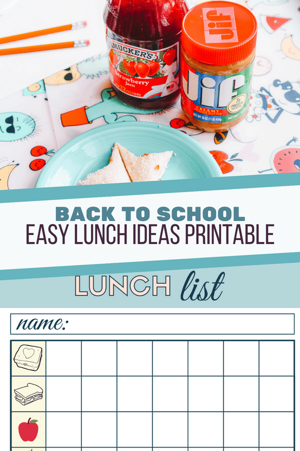 EASY LUNCH IDEAS PRINTABLE