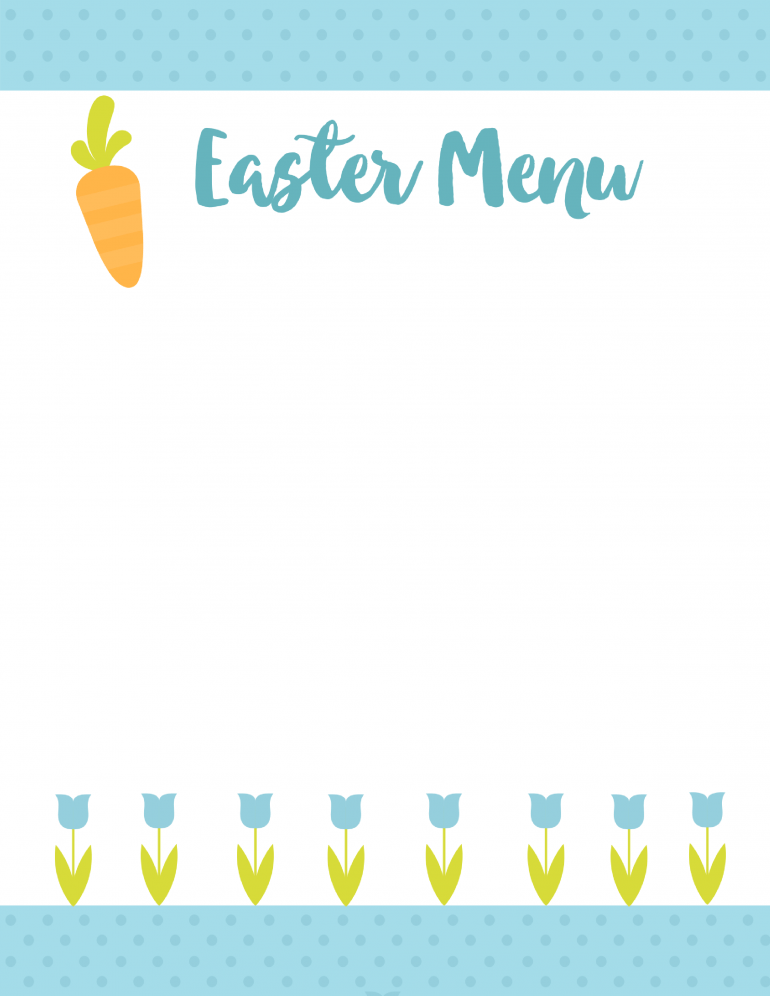 Easter Menu Printable
