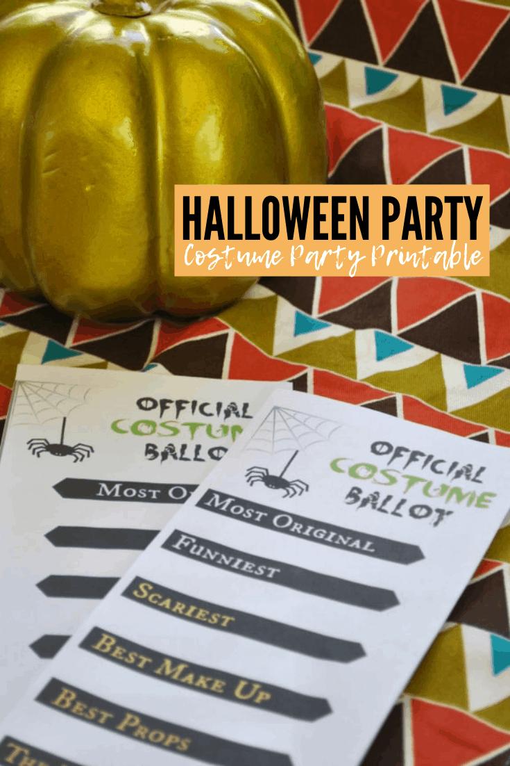Halloween Costume Party Ballot