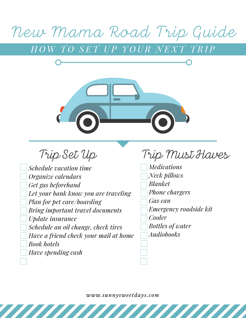 New Mom Printable Road Trip Checklist