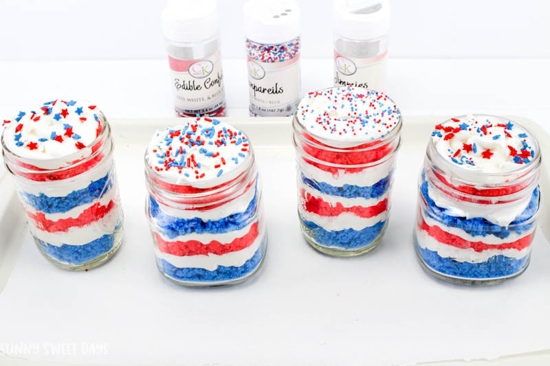4th of July Cake in a Jar