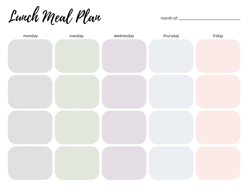 Lunch Meal Plan Printable