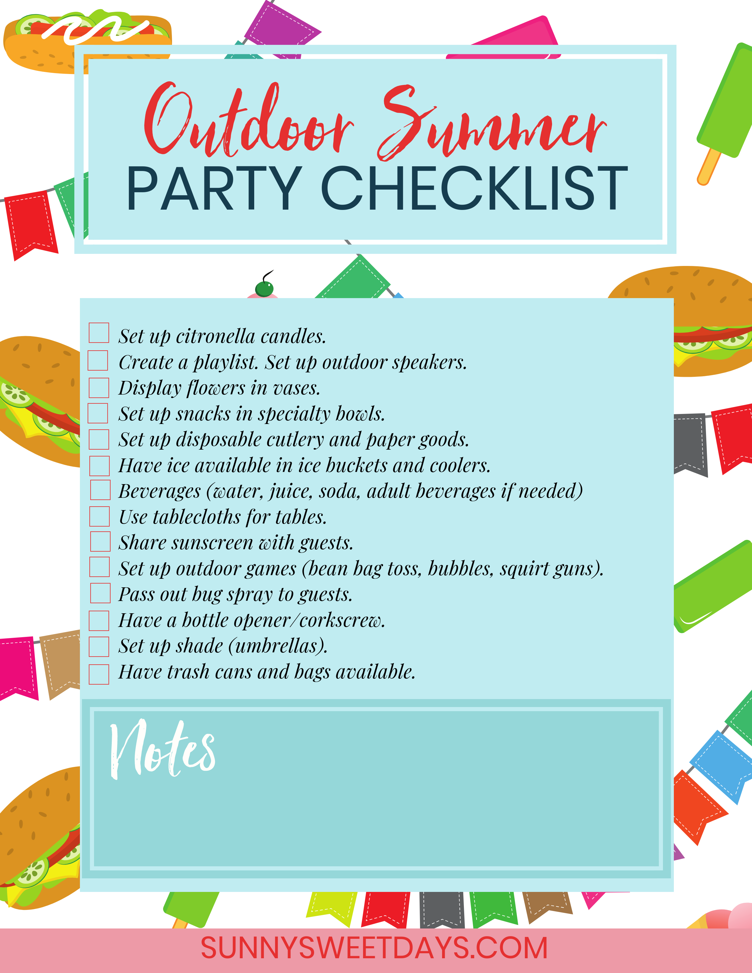 Outdoor Summer Party Checklist