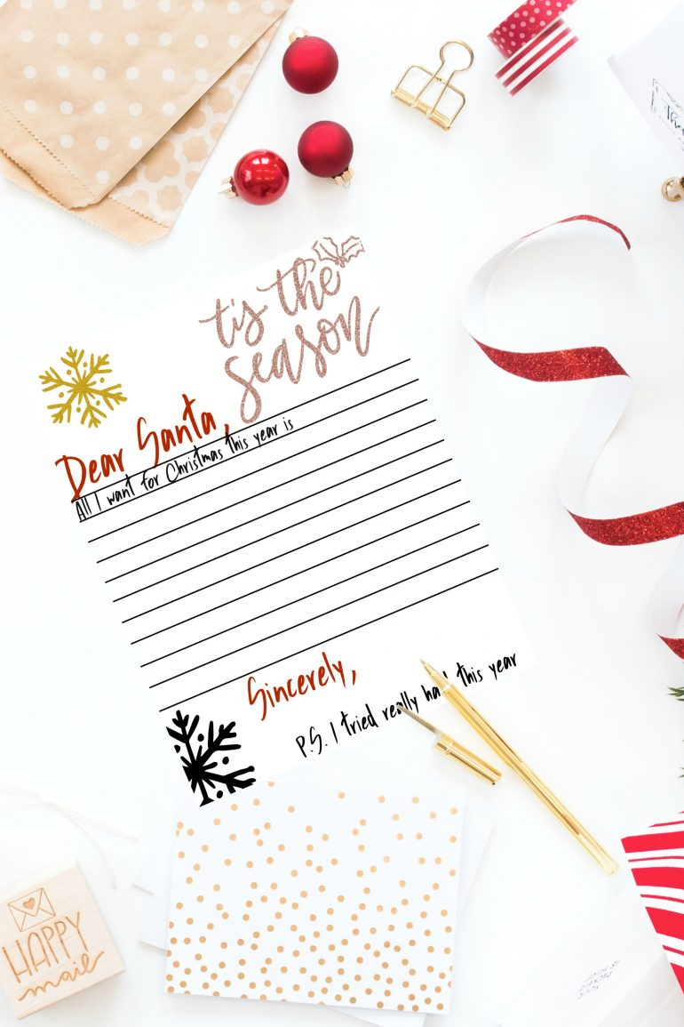 photograph about Dear Santa Printable called Expensive Santa Printable Letter » Sunny Adorable Times