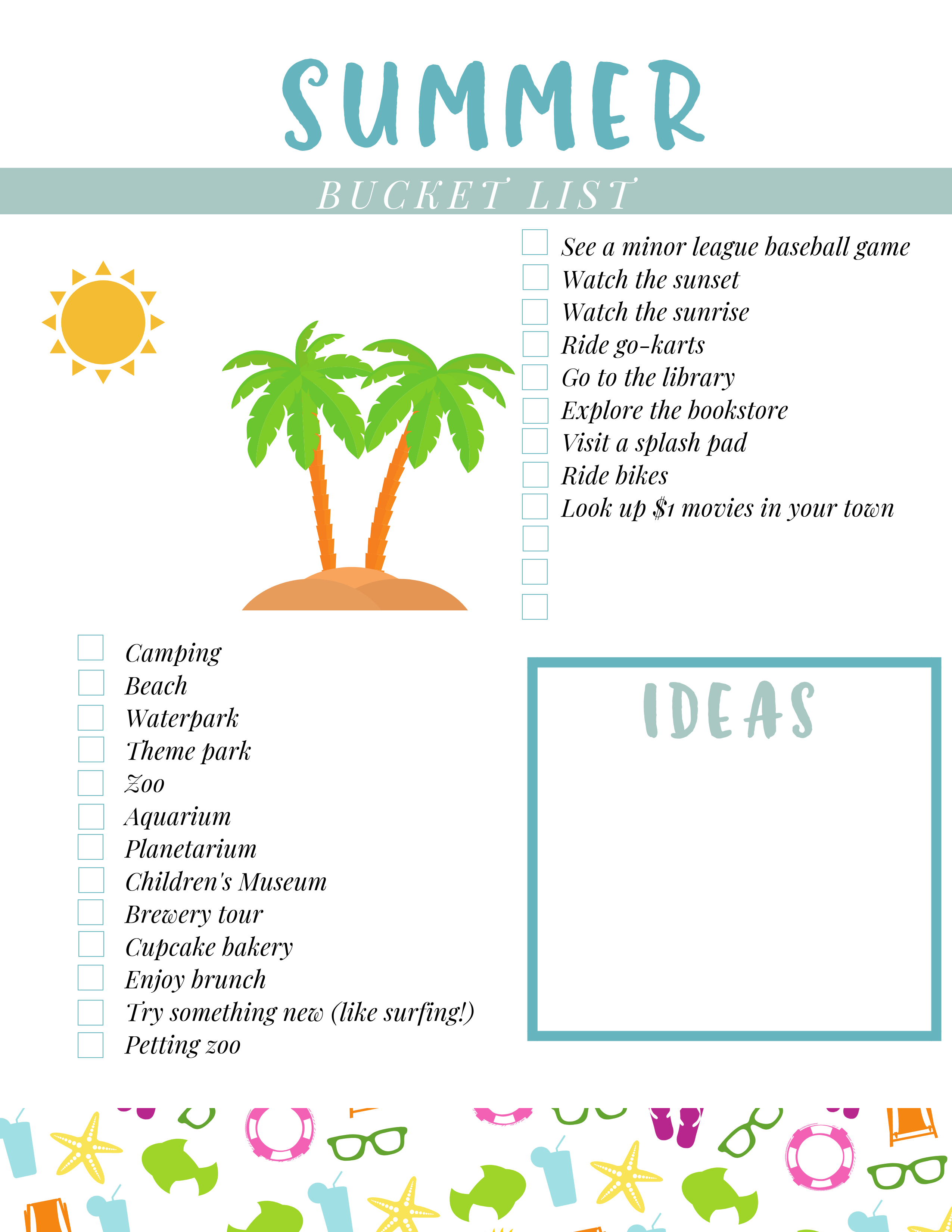 Celebrate Summer with a Summer Bucket List Printable