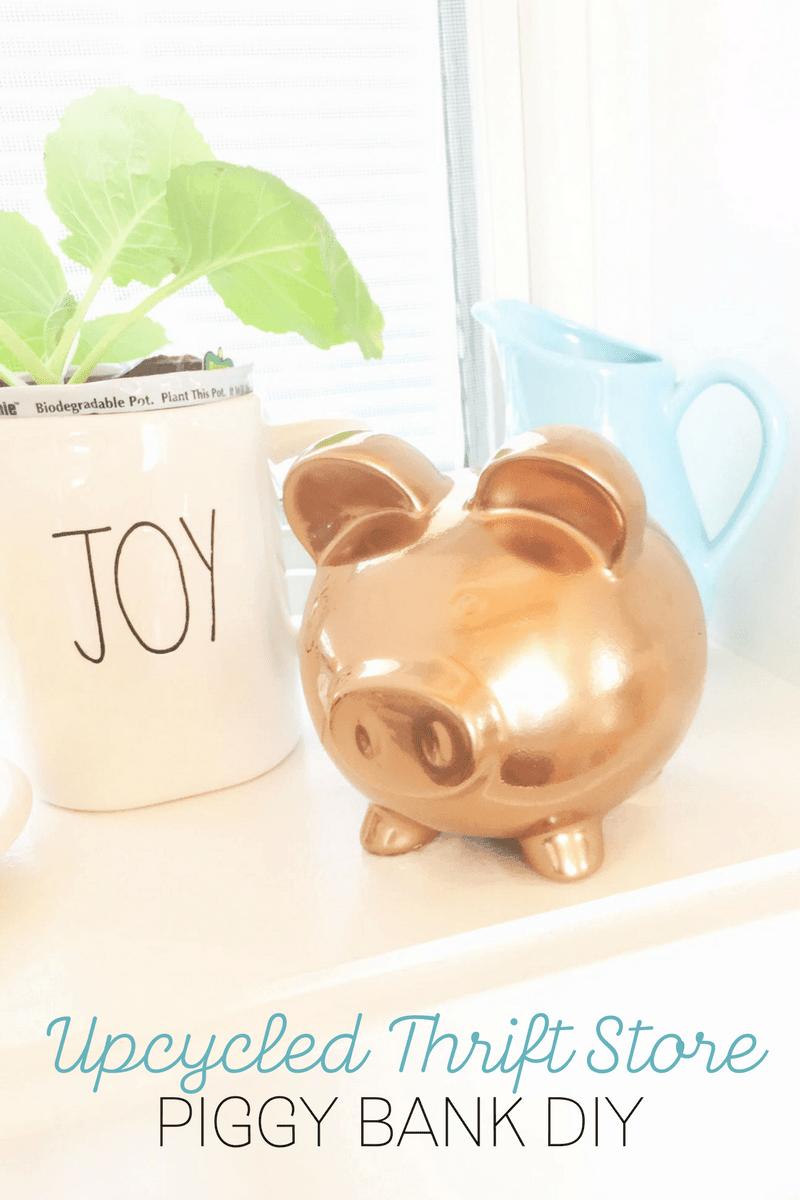 Thrift Store DIY: Gold Piggy Bank Decor