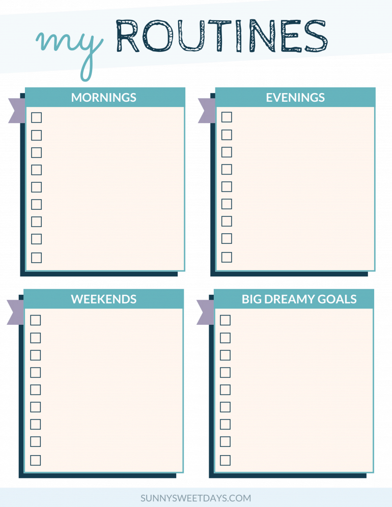 Weekly Routines Printable