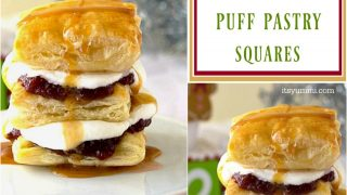 Cranberry Caramel Puff Pastry Dessert Squares